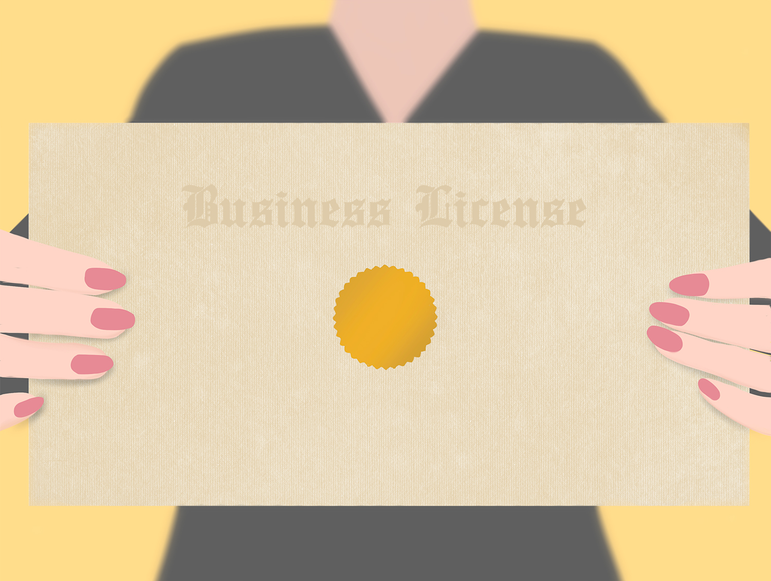 woman holding up a business license